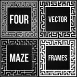 Vecteur Maze Frame Set Vintage Maze Border Images stock