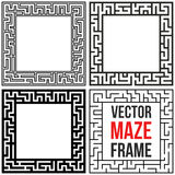 Vecteur Maze Frame Set Vintage Maze Border Photo stock