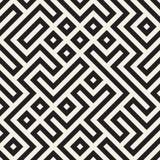 Vecteur Maze Lines Geometric Pattern noir et blanc sans couture Photographie stock libre de droits