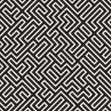 Vecteur Maze Lines Pattern noir et blanc sans couture illustration stock