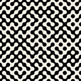 Vecteur Maze Pattern arrondi par Truchet noir et blanc sans couture Photos stock