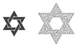 Vecteur Mesh David Star polygonal et icône plate illustration de vecteur