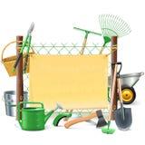 Vecteur Mesh Frame avec des outils de jardin Photos libres de droits
