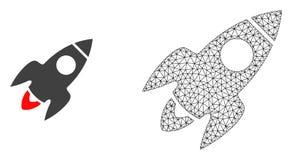 Vecteur Mesh Rocket Flight polygonal et icône plate illustration libre de droits