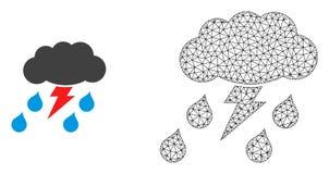 Vecteur Mesh Thunderstorm polygonal et icône plate illustration de vecteur