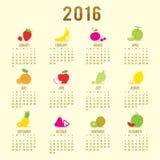 Vecteur mignon de bande dessinée de fruit du calendrier 2016 Images stock