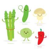 Vecteur mignon de champignon de chou de poivre de concombre d'asperge d'ensemble de bande dessinée végétale Image libre de droits