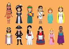 Vecteur mignon de diverse de princesse Cartoon Character Costume bande dessinée mignonne de fille illustration stock