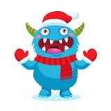 Vecteur mignon de monstre de Noël Mascotte de bande dessinée de vacances Bon pour la carte de Noël, bannière Images stock
