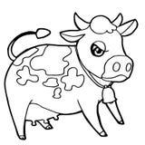 Vecteur mignon de page de coloration de bétail ou de vache de bande dessinée Images libres de droits