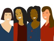 Vecteur minimalistic plat de groupe de femme : appartenance ethnique différente caucasienne, africain, asiatique Concept de diver illustration libre de droits