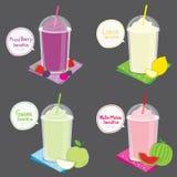 Vecteur mélangé de bande dessinée de Smoothie de fruit de Berry Lemon Guava Watermelon Juice Photo stock