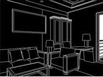 Vecteur moderne 05 de salle de séjour Images libres de droits