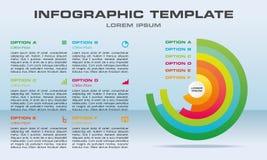 Vecteur moderne de calibre d'options d'infographics avec le cercle coloré Images libres de droits