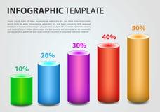 Vecteur moderne de calibre d'options d'infographics avec le cylind coloré Images stock