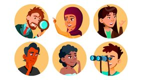 Vecteur multiculturel heureux curieux de jeu de caractères illustration stock