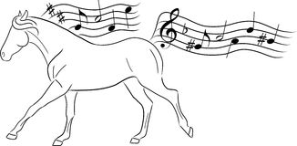 Vecteur musical de cheval Photo stock