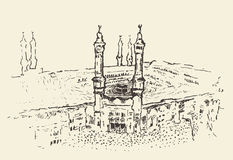 Vecteur musulman saint de Kaaba Mecca Saudi Arabia dessiné Photographie stock