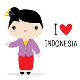 Vecteur national de bande dessinée de robe de femmes de l'Indonésie illustration de vecteur