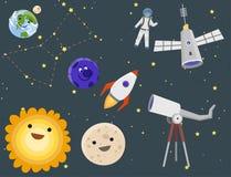 Vecteur navette de fusée de cosmonaute de vaisseau spatial d'exploration de système solaire de vaisseau spatial de planètes d'att illustration de vecteur