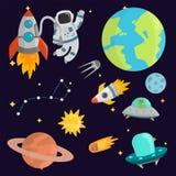 Vecteur navette de fusée de cosmonaute de vaisseau spatial d'exploration de système solaire de vaisseau spatial de planètes d'att illustration stock