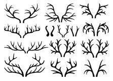 Vecteur noir de silhouettes d'andouillers de cerfs communs Images stock