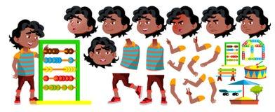 Vecteur noir et afro-américain d'enfant de jardin d'enfants de garçon Ensemble de création d'animation Émotions de visage, gestes illustration de vecteur