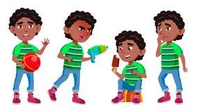 Vecteur noir et afro-américain d'enfant de jardin d'enfants de garçon Petit enfant sur la cour de jeu Avoir l'amusement Pour la p illustration de vecteur