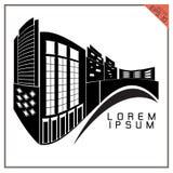 Vecteur noir et blanc d'icônes de bâtiment commercial sur le Ba blanc Photos libres de droits