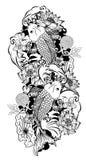 Vecteur noir et blanc de poissons de carpe de Koi Photographie stock