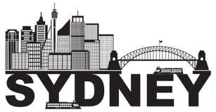 Vecteur noir et blanc de Sydney Australia Sklyine Text Outline Photos stock