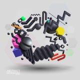 Vecteur noir et multicolore eps10 du fond 3d géométrique abstrait - illustration libre de droits