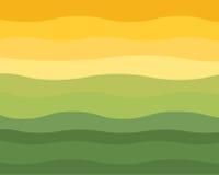 Vecteur ondulé vert et jaune d'horizon illustration libre de droits