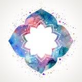 Vecteur oriental de cadre de fleur d'aquarelle Image libre de droits