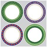Vecteur ornements décoratifs végétaux ronds de 4 morceaux Images libres de droits