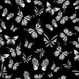 Vecteur Papillons blancs d'art sur le noir, couleurs Fond mignon pour le papier, conception de tissu, emballages et papier peint  illustration de vecteur