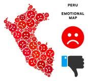 Vecteur Peru Map Mosaic émotif des smiley tristes illustration stock