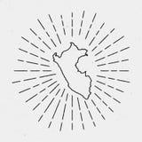 Vecteur Peru Map Outline avec le rétro rayon de soleil Photo libre de droits