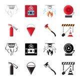 Vecteur plat d'icônes de sécurité incendie d'ensemble illustration stock
