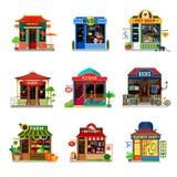 Vecteur plat d'icône de boutique de nourriture de magasin d'étalage de chiche-kebab micro de sushi Image libre de droits