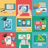 Vecteur plat d'icônes d'éducation en ligne illustration de vecteur