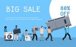 Vecteur plat d'illustration d'affiche d'appareils ménagers Équipement moderne de machine de maison de technologie Appareil ménage illustration stock