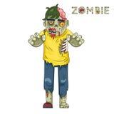 Vecteur plat de calibre de carte de voeux de conception de fond élégant d'icônes de buste de caractère de rôle de zombi de partie illustration de vecteur