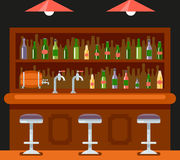 Vecteur plat de calibre de conception d'icône de Chambre de bière d'alcool de symbole de café de restaurant de barre de bar de co Image libre de droits
