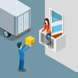 Vecteur plat de client de livreur de boîte de porte de maison de paquet de la livraison illustration libre de droits