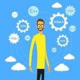 Vecteur plat de codeur de Man Computer Geek de programmeur Image libre de droits