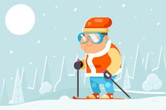 Vecteur plat de conception de skieur de ski d'hiver de sports d'activités de vieillesse d'homme de bande dessinée saine adulte pr Photo stock