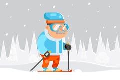 Vecteur plat de conception de skieur de ski de mamie d'hiver de sports d'activités de vieillesse de bande dessinée saine adulte d Photos stock