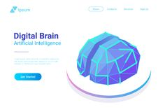 Vecteur plat de Digital Brain Isometric Artificiel dedans illustration stock