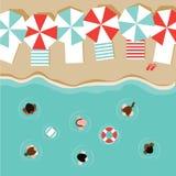 Vecteur plat de la conception ENV 10 de parapluies et de personnes de plage Photographie stock libre de droits